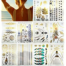 Premium Metallic Tattoos - 150+ Shimmer Designs in Gold, Silver, Black and Turquoise - Temporary Fake Jewelry Tattoos - Bracelets, Feathers, Wrist and Arm Bands