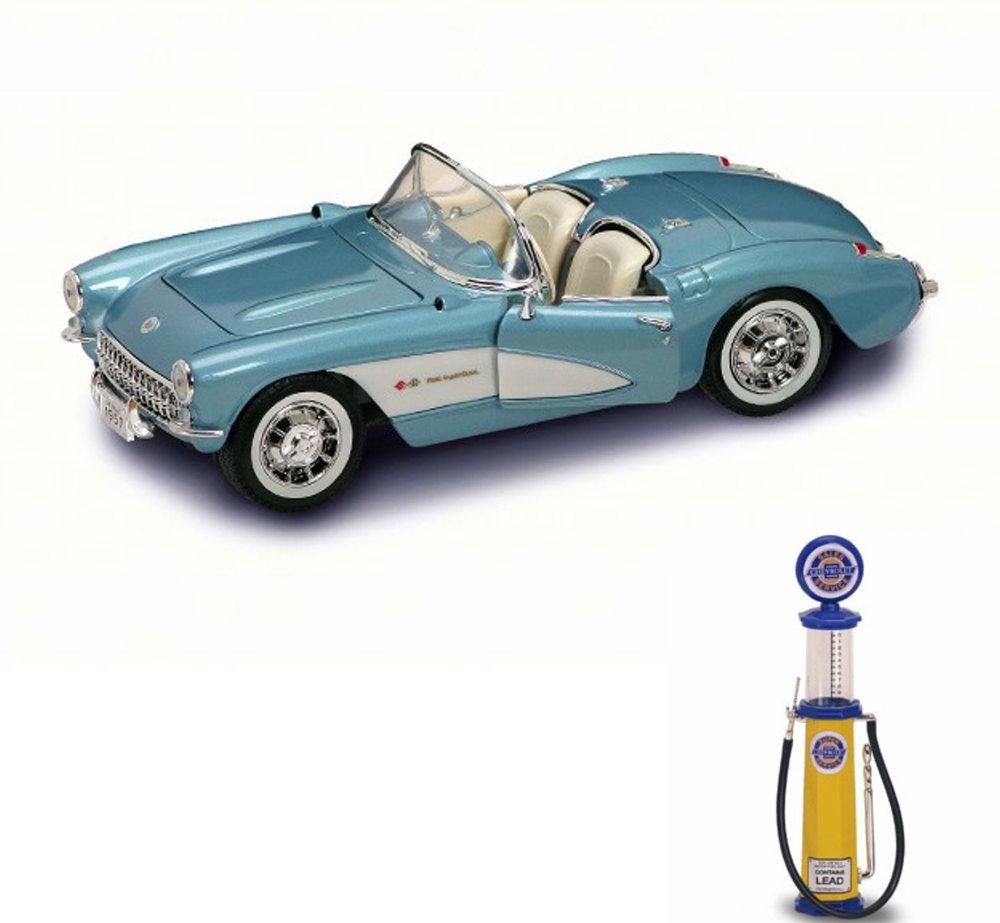 Chevy Diecast Car & Gas Pump Package - 1957 Chevrolet Corvette Convertible, Blue - Road Signature 92018 - 1/18 Scale Diecast Model Toy Car w/Gas Pump