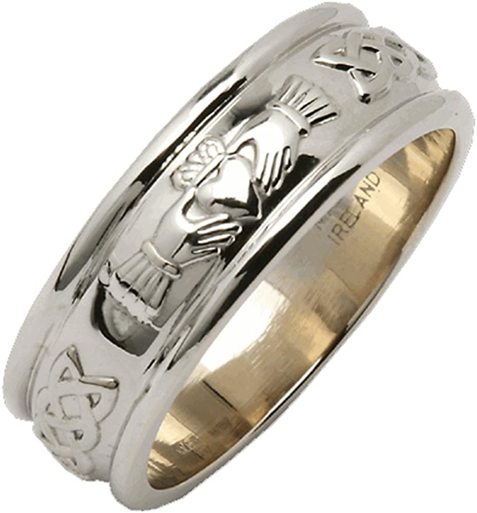 "Claddagh Wedding Ring Mens Made In Ireland Sterling Silver Intricate  Claddagh Design Around 10/10"" Band Made By Maker-Partner Fado in Co. Wicklow,"