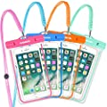 Waterproof Case, 4 PACK Glow In The Dark IPX8 Universal Waterproof Phone Pouch Cases Dry Bag with Military Lanyard for iPhone Samsung Google Pixel HTC LG Huawei (Blue Pink Green Orange 4 Pack) from KAMOTA
