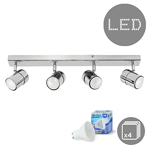 Marco tielle meteor black and chrome ceiling halogen spotlights bar modern 4 way straight bar ceiling spotlight fitting in a polished chrome finish complete with aloadofball Choice Image