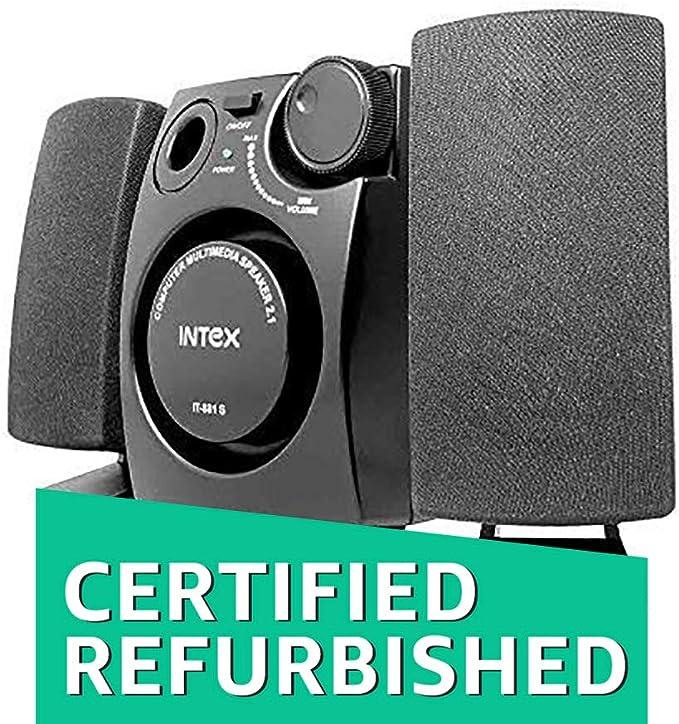 Renewed  Intex IT 881S 2.1 Desktop Speakers   Black PC Speakers