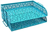EasyPAG 2 Tier Stackable Desk Tray Organizer Document Letter Sorter, Dark Teal
