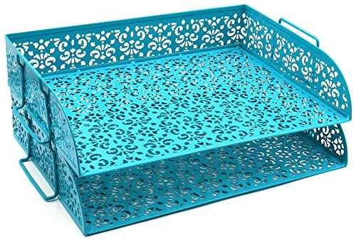 EasyPAG 2 Tier Stackable Desk Tray Organizer Document Letter Sorter, Dark Teal by EasyPag