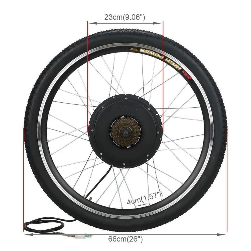 Esright 26 in Bike Rear Wheel Electric Motor Bicycle Conversion Kit 48v 1000w