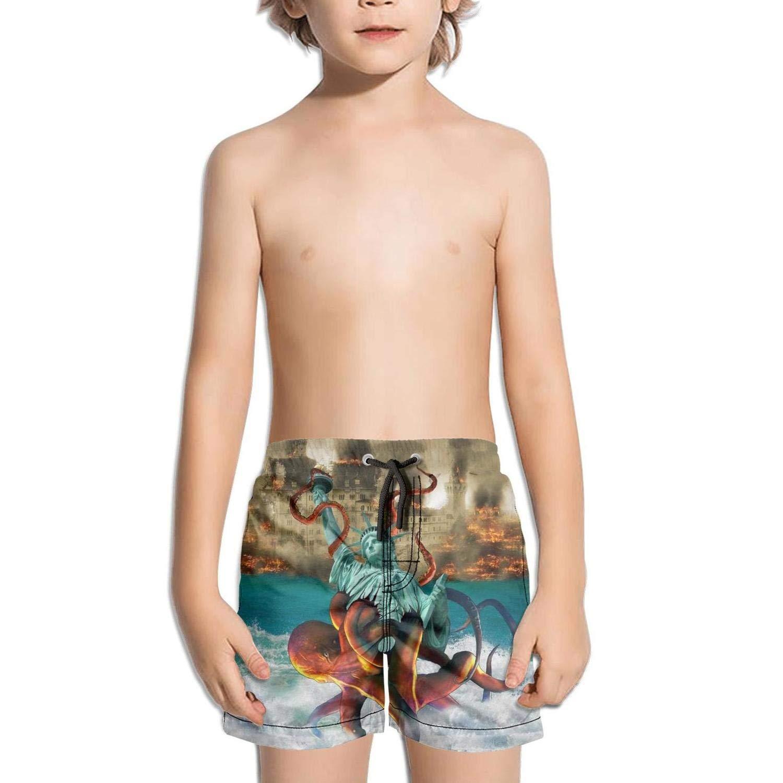 Etstk Statue of Liberty Kraken Octopus Kids Comfortable Shorts for Boys