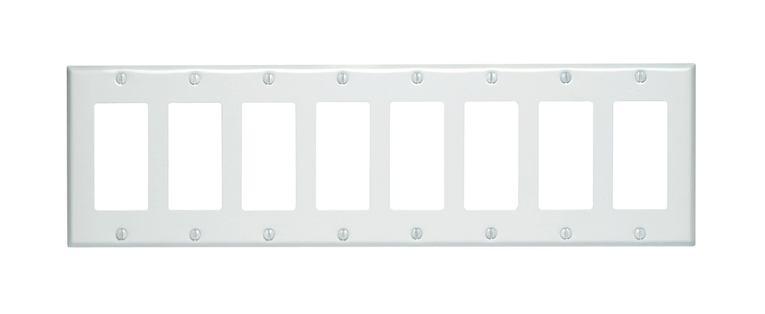 Leviton 80408-W 8-Gang Decora/GFCI Device Wallplate, Painted Metal, Device Mount, White by Leviton