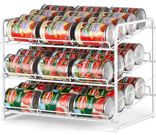 Bextsware Stackable Can Rack Organizer For Kitchen Cabinet, Pantry Organization And Storage Dispenser, Holds 36 Soda Cans Or Canned Food, Metal White