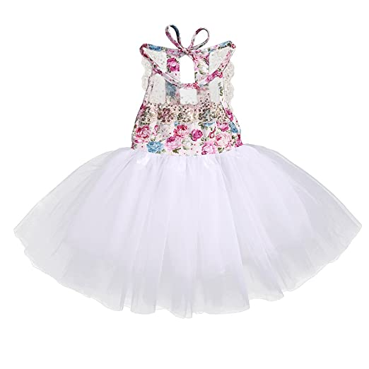 2dfe2c26a Amazon.com  Baby Girl Floral Lace Tutu Dress Sleeveless Summer Tulle ...