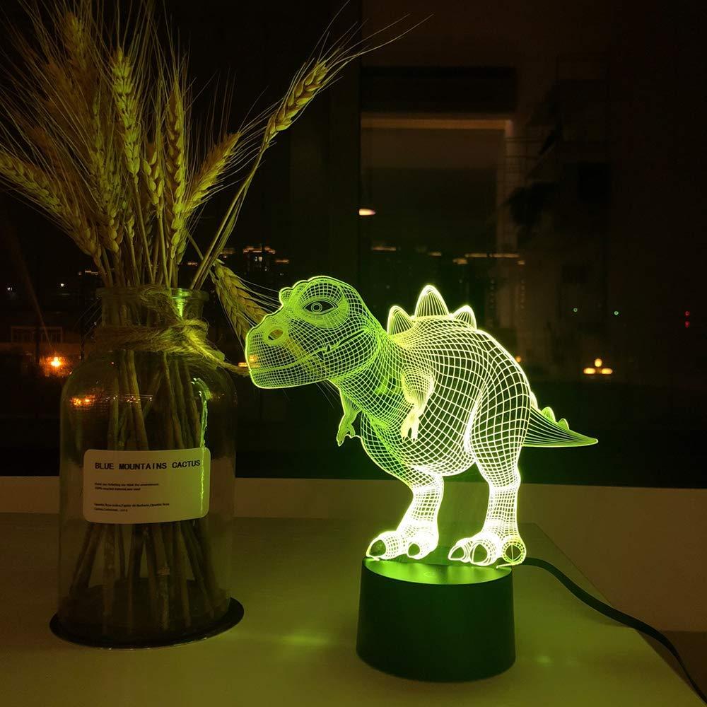 Dinosaurio T-Rex PONLCY Novedad L/ámparas de ilusi/ón 3D LED T-Rex Dinosaur Night Lights USB 7 Colores Sensor L/ámpara de Escritorio para ni/ños Navidad Regalos de cumplea/ños Decoraci/ón del hogar