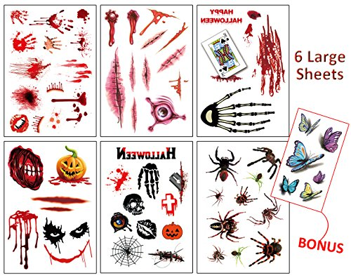 Temporary Tattoos Large – 7 Sheets Simulate Body Wound Scab Bloody Stickers, Parties Realistic Spider Pumpkin Scars, Vampire Zombie Cosplay Makeup Horror Christmas Gift Toys for Kids Women (Halloween Cute Zombie Makeup)