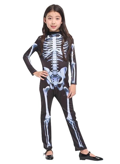 Disfraz de calavera de Halloween niñas esqueleto, traje de ...