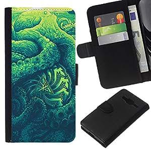 KLONGSHOP // Tirón de la caja Cartera de cuero con ranuras para tarjetas - Resumen Naturaleza Verano Verde - Samsung Galaxy Core Prime //