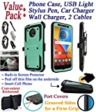 Value Pack + for 5.5'' Motorola moto G5S + PLUS g5splus Case Clip Holster Phone Case 360° Cover Screen Protector Kickstand Armor Shock Bumper (Teal)