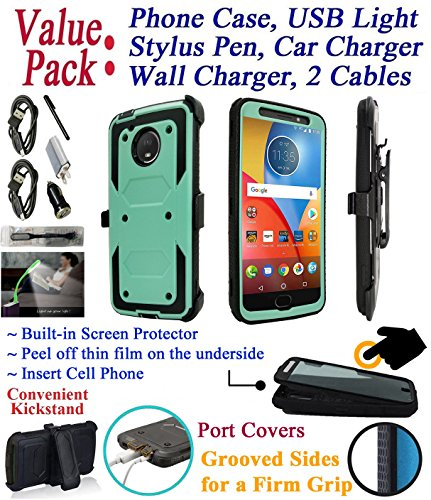 Value Pack + for 5.5'' Motorola moto G5S + PLUS g5splus Case Clip Holster Phone Case 360° Cover Screen Protector Kickstand Armor Shock Bumper (Teal) by 6goodeals