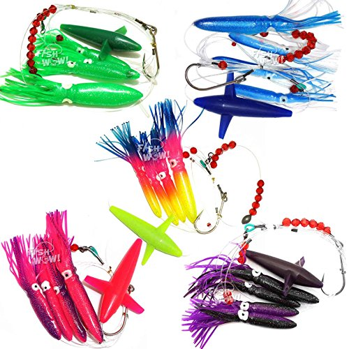 [Fish WOW! Fishing Daisy Bird Chain Squid Lure Rig Teaser Trolling - Set of 5 -] (Squid Daisy Chain)