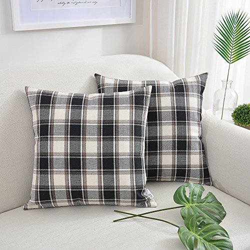 White Checkers Protector Case - NATUS WEAVER 2 Packs Black White Checker Pillow Case Soft Linen Square Decorative Throw Cushion Cover Pillowcase with Invisible Zipper for Bench 24