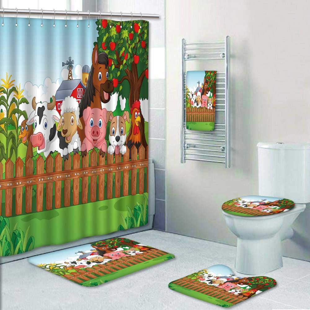 Philip-home 5 Piece Banded Shower Curtain Set Collection Farm Animals Decorate The Bath by Philip-home