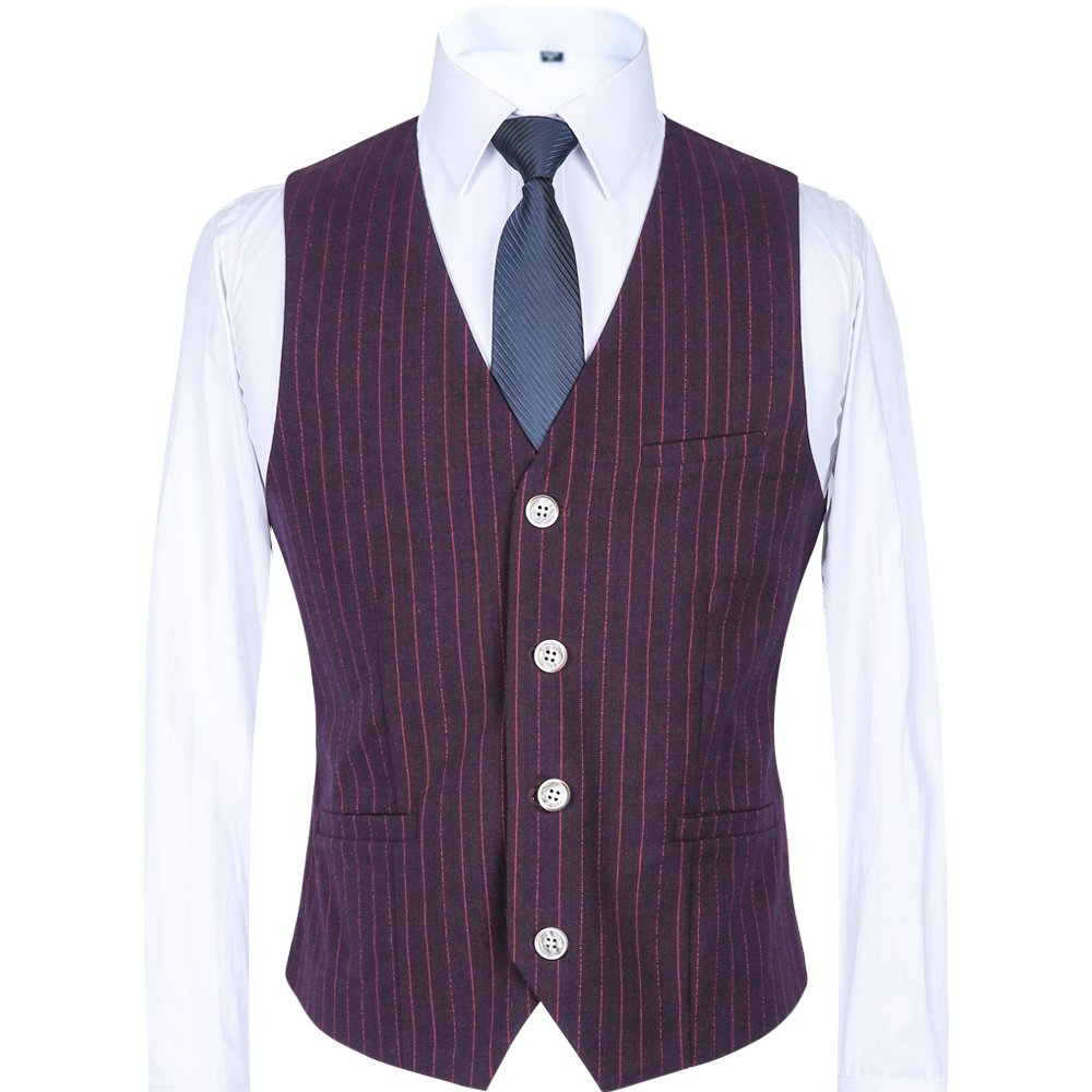 CCXO Mens Single Breasted 4 Buttons Sleeveless Formal Business Wedding Waistcoat Vest