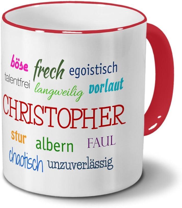 Taza con diseño de nombre de Christopher - negativa de las ...