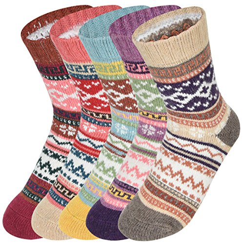 (Women's Wool Socks 5 Pack Thick Knit Cotton Vintage Colorful Casual Fall Winter Crew Socks)