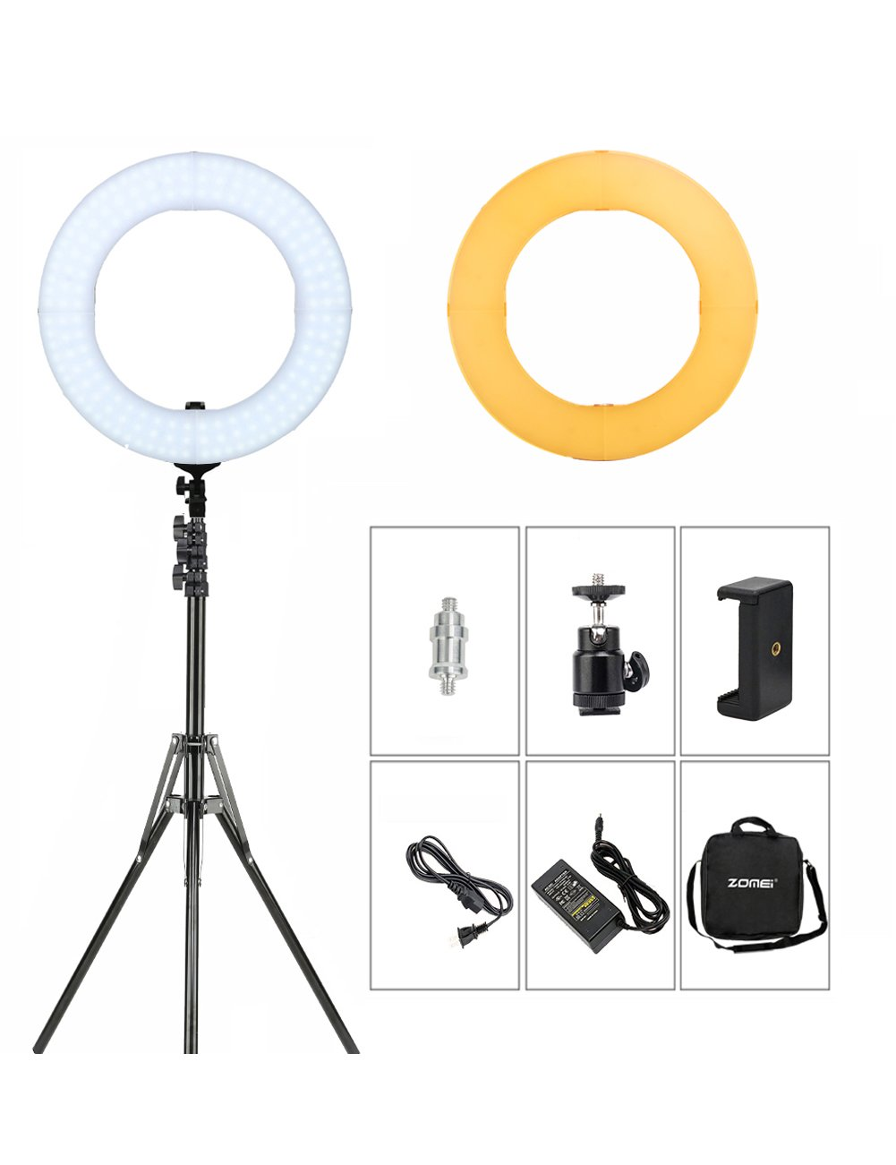 ZOMEI 14 inch LED Ring Light, Dimmable 41W 5500k Output Makeup and YouTube Video Light Professional Photography Lights with Stand, Orange Plastic Filters and Carrying Bag by BONFOTO