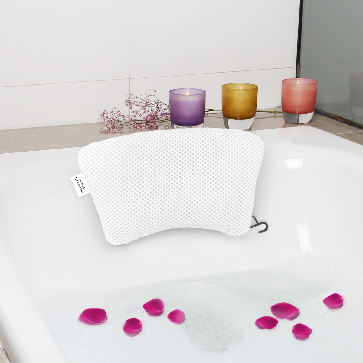 TakCool Luxury Spa Bath Pillow with Non-Slip Suction Cups Unique Curve Shaped Bathtub Pillow for Neck Head Support Quick Drying Anti-Bacterial Bath Pillows Fits Any Tub