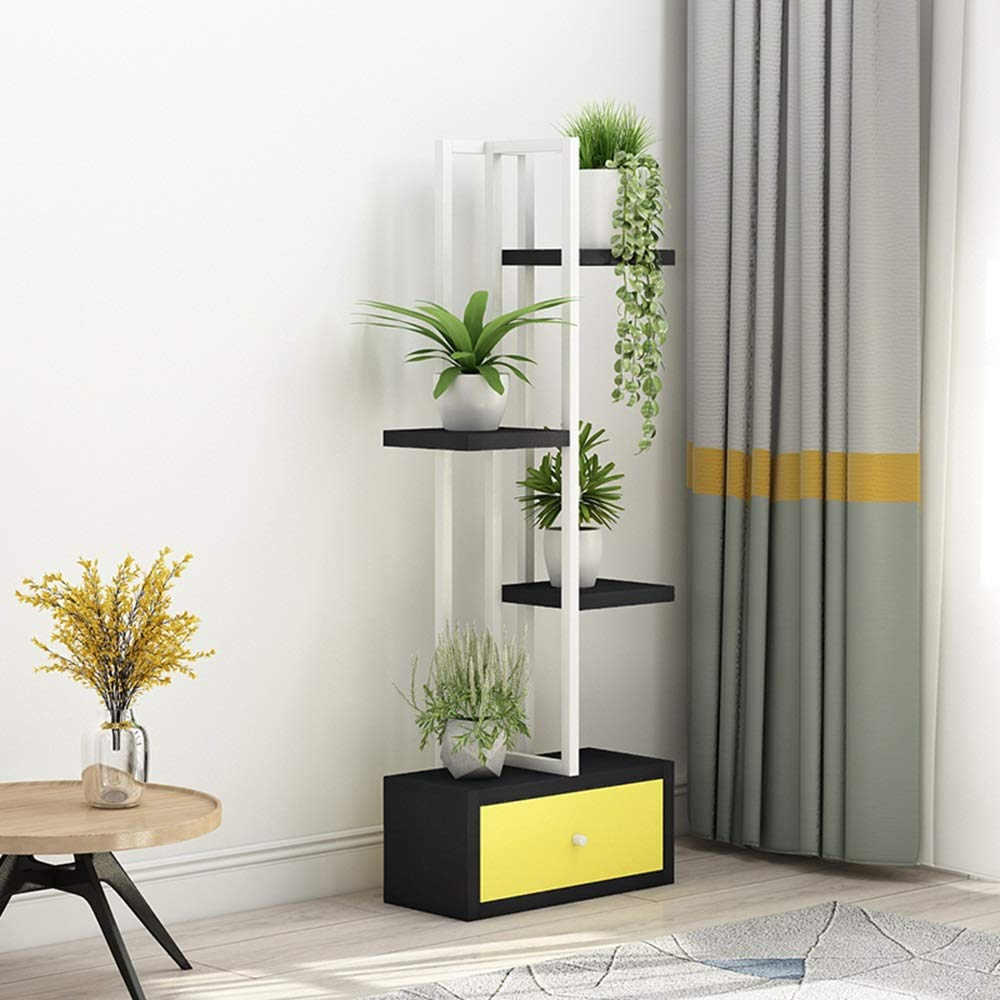 複数階の屋内の花のラック錬鉄簡単なファッションスペースのリビングルームのベッドルームフラワーポットラックの床プラントのディスプレイスタンド (色 : White frame+black, サイズ さいず : 40 * 20 * 115cm) B07H2FM2DX 40*20*115cm|White frame+black White frame+black 40*20*115cm
