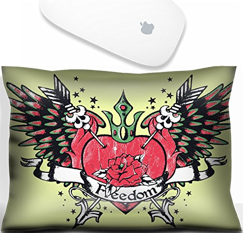 Luxlady Mouse Wrist Rest Office Decor Wrist Supporter Pillow classic tribal heart with rose and wing. IMAGE: 6791549