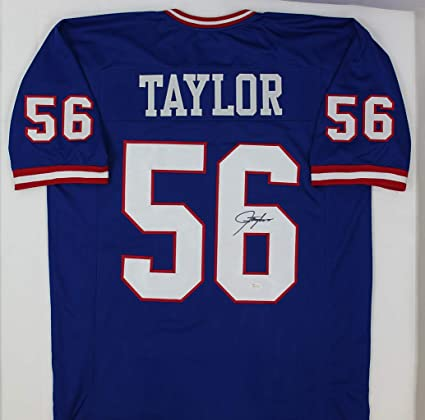 b965b2e9 Lawrence Taylor Autographed Blue New York Giants Jersey - Hand ...
