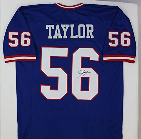75573babbd4 Lawrence Taylor Autographed Blue New York Giants Jersey - Hand Signed By Lawrence  Taylor and Certified Authentic by JSA - Includes Certificate of ...