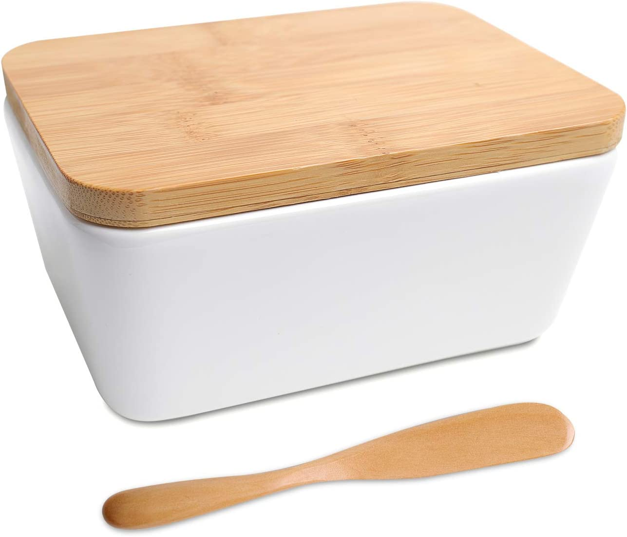 White FIVEAGE Large Butter Dish Airtight Butter Keeper Holds Up to 2 Sticks of Butter Porcelain Container with Bamboo Lid /& Butter Knife