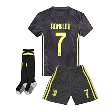 info for 56bca 4bb5d 18-19 Season Juventus #7 Ronaldo Kids Or Youth Away Color Black Soccer  Jersey & Shorts & Socks