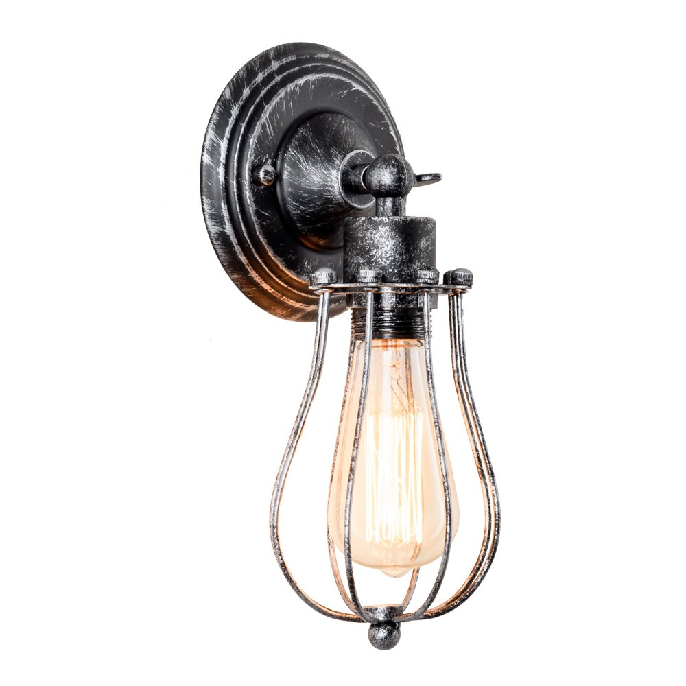 Vintage Wall Lamp Adjustable Rustic Retro Wire Cage Wall Light Industrial Style Indoor Lighting Fixture ;Moonkist (Silver)