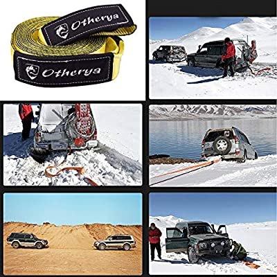 Otherya Tow Recovery Strap 3'' x 20' - Recover Your Vehicle Stuck in Mud/Snow - Heavy Duty Winch Snatch Strap - Protective Loops, Water-Resistant - Off Road Truck Accessory - Bonus Storage Bag: Automotive
