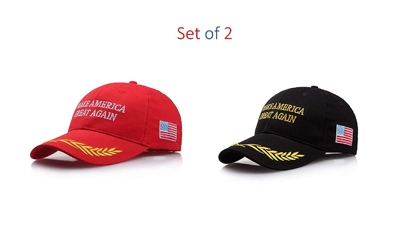 a1fc1effecc8d Amazon.com  Tresbon Products Make America Great Again MAGA Donald Trump 2020  Unisex Breathable Adjustable Snapback Baseball Cap Black and Red  Clothing