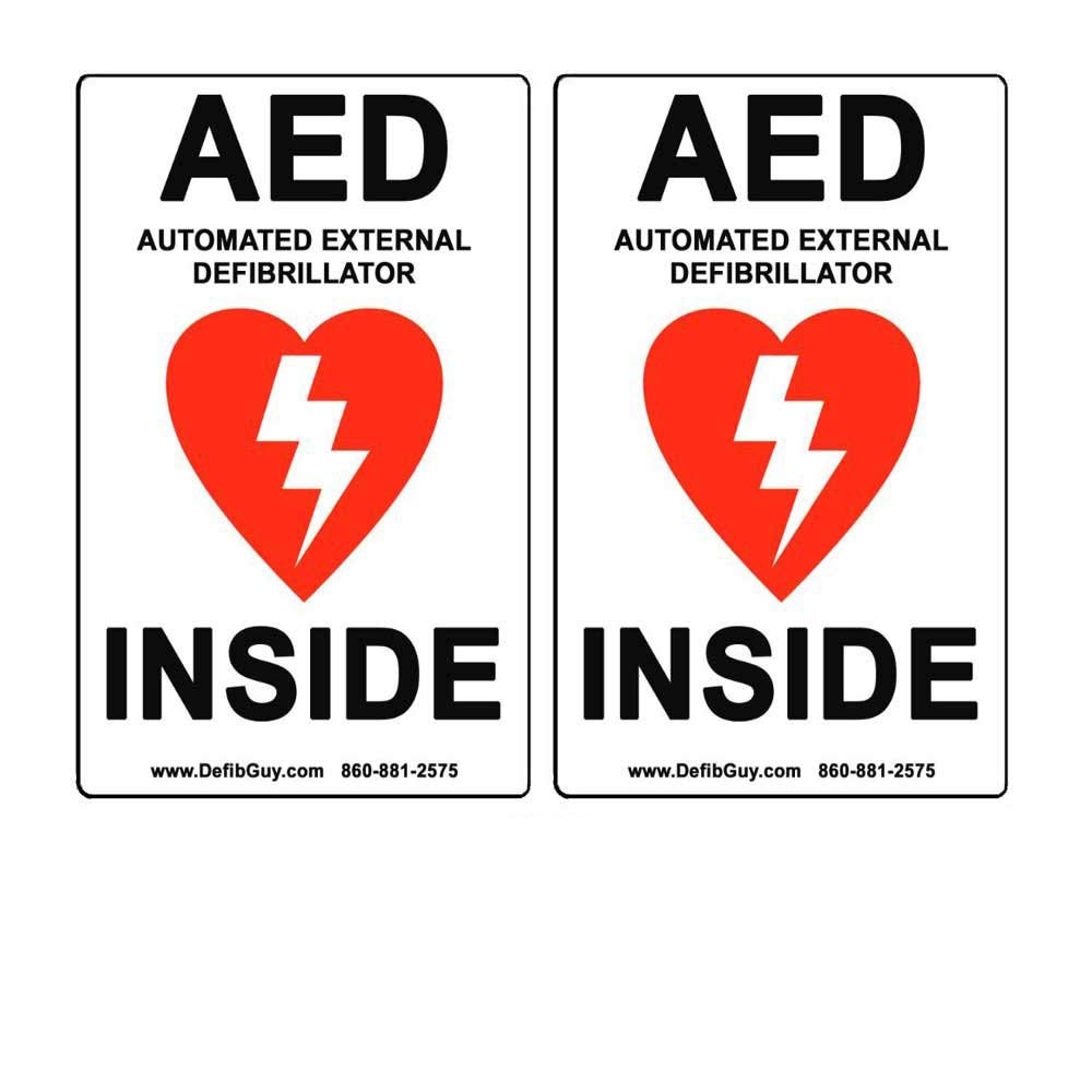 2 PACK of 4' Width x 6' Height, Vinyl, Red and Black on White Weatherproof AED Label, 'AED Automated External Defibrillator Inside' by Defib Guy