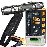 Fenix PD35 V2.0 2018 1000 Lumen Flashlight rechargeable bundle with Fenix USB Rechargeable li-ion Battery & EdisonBright battery carry case