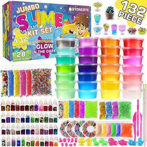Byonebye 132 Pcs DIY Slime Making Kit for Girls Boys - Birthday Idea for Kids Age 5+. Ultimate Fluffy Slime Supplies Include 28 Crystal Slime(4 Glow in The Dark), 48 Bottle Glitter Jar etc.