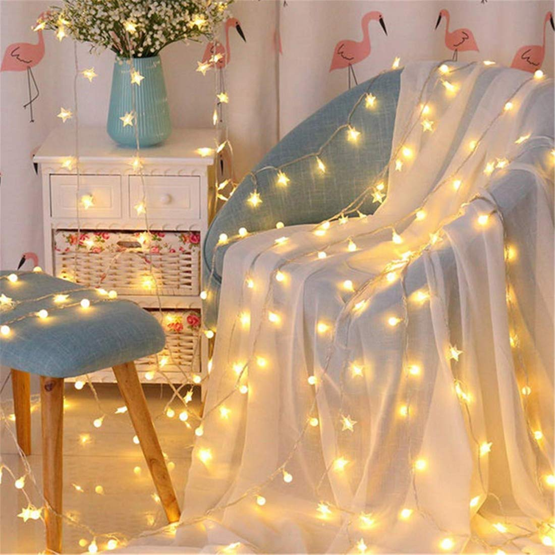 Chandelierstring Lights Led Decoration Small Lights Room Layout Decoration Network rot Lights Stars Warm Farbe 10 Meters 80 Lights Battery [Energy Class A+]