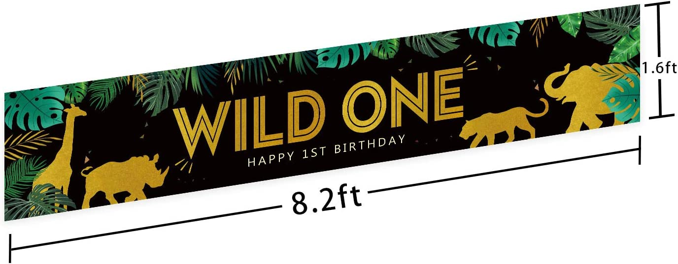 Happy 1st Birthday Banner Wild One Banner Jungle Safari Theme 1st Bday Party Banner Wild One Party Decorations for Boy Girl Black Gold