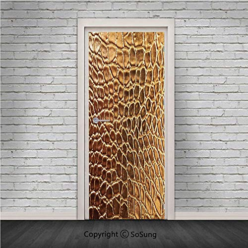 Animal Print Decor Door Wall Mural Wallpaper Stickers,Tint Golden Crocodile Skin Nature Life Toughness High End Design Artwork,Vinyl Removable 3D Decals 30.4x78.7/2 Pieces set,for Home Decor Gold ()