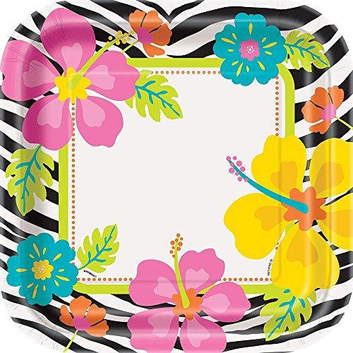 Square Wild Luau Dinner Plates