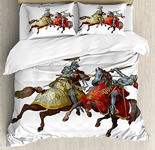 Medieval Decor Duvet Cover Set by Ambesonne, Middle Age Fighters Knights with Ancient Costume Renaissance Period Illustration Artwork, 3 Piece Bedding Set with Pillow Shams, King Size, (Pillowcase Knight Costume)