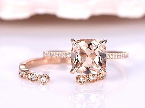 Amazon com: 2 Solid 14k Rose Gold Morganite Rings Jewelry