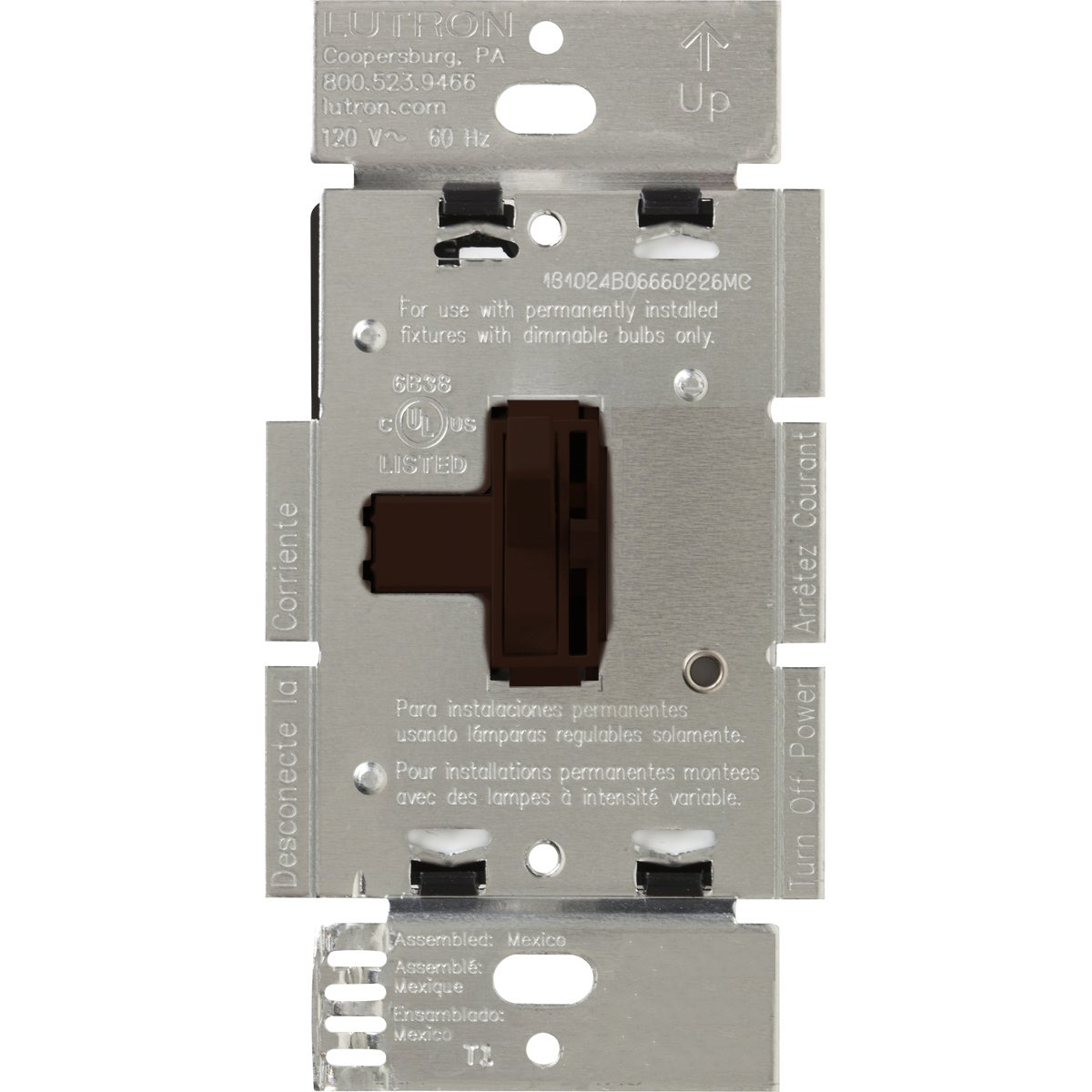 Lutron Toggler Magnetic Low Voltage Dimmer Switch, Single-Pole or 3-Way, AYLV-603P-BR, Brown by Lutron