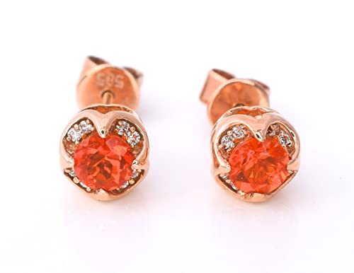LeVian Neon Fire Opal and Vanilla Diamonds 0.26 cttw Stud Earrings 14k Solid Rose Gold