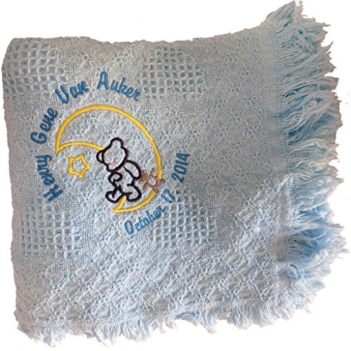 Custom Embroidered Personalized Cotton Baby Blue Afgan with Design of Bear on the Moon with Baby's Name and Date of Birth