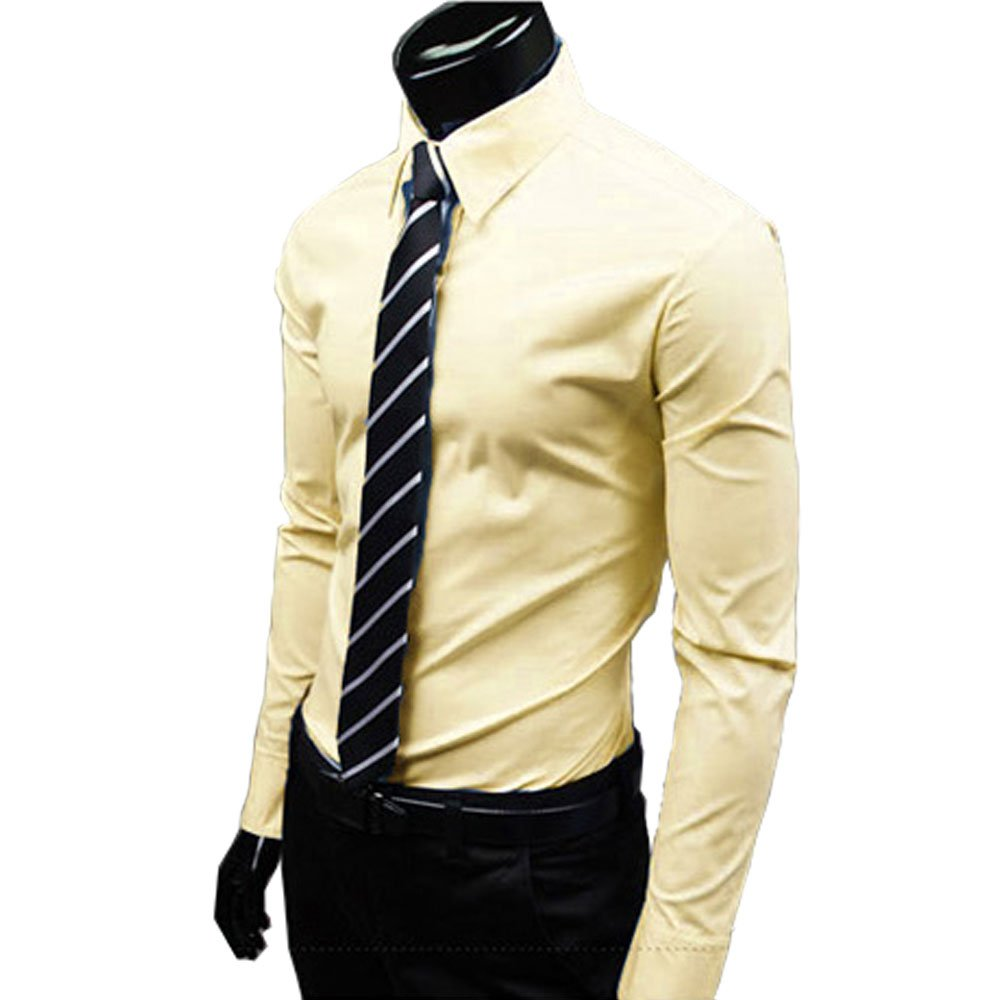 Mens Slim Fit Cotton Point Collar Solid Dress Shirt Light Yellow US Size M Tag Size 2XL