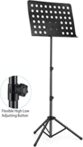 OZSTOCK Music Stand Adjustable Folding Heavy Duty Large Professional Stage Black